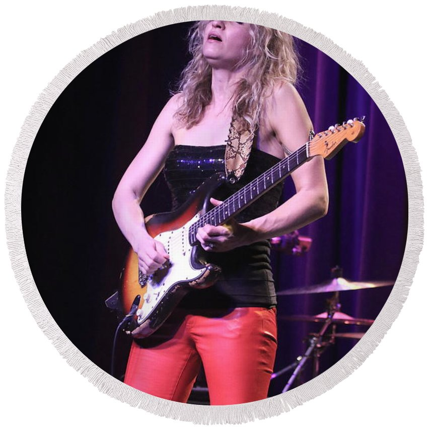 Guitarist Round Beach Towel featuring the photograph Guitarist Ana Popovic by Concert Photos