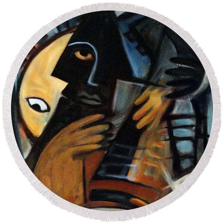Cubism Round Beach Towel featuring the painting Guitarist by Valerie Vescovi