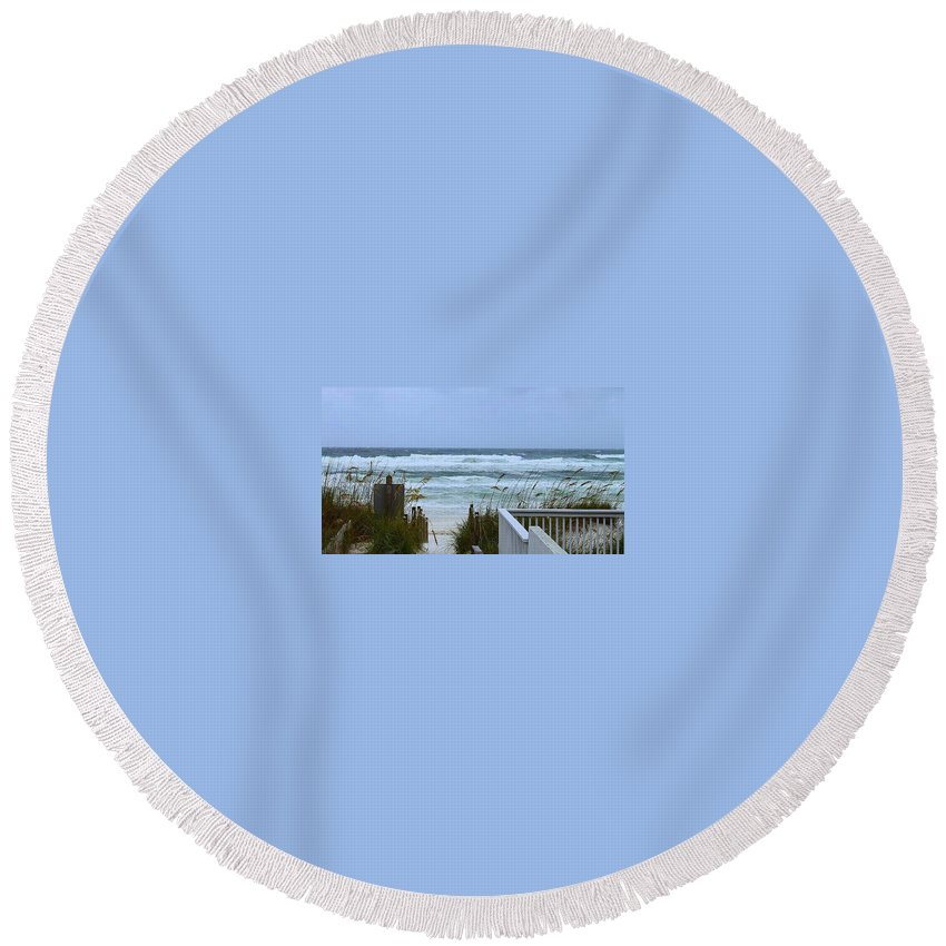 Weather Round Beach Towel featuring the photograph Gulf Coast Waves by Debra Forand