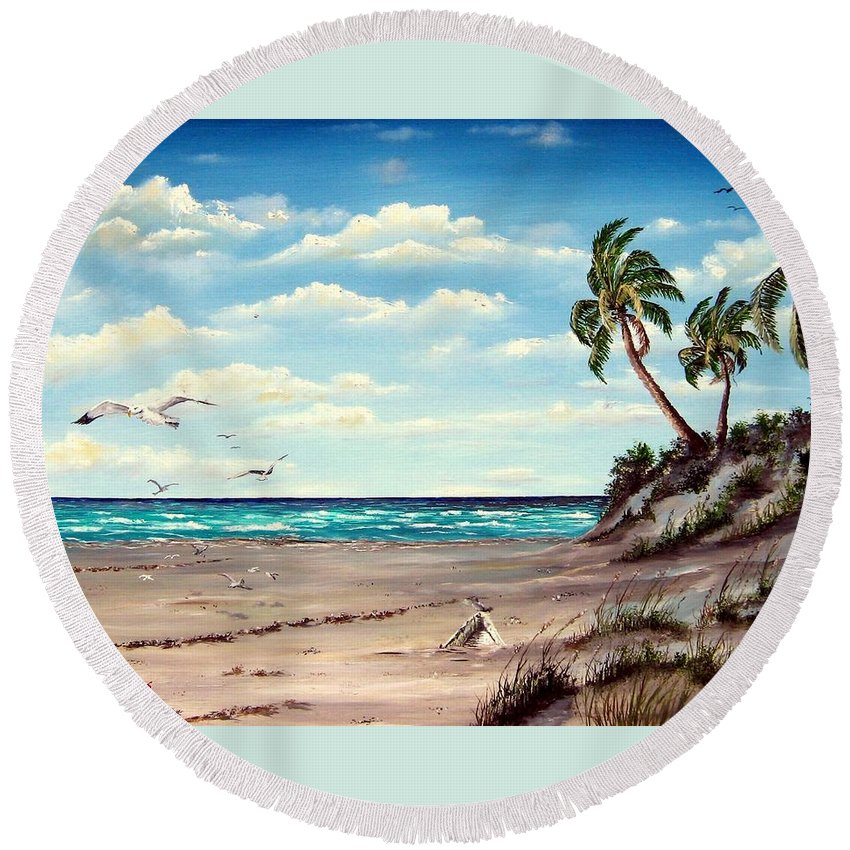 Art Round Beach Towel featuring the painting Gulf Dunes by Riley Geddings