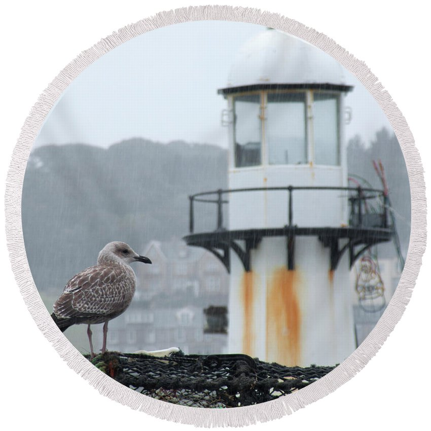 Seagull Gull Lighthouse St Ives Cornwall England Uk Rain Seaside English British Round Beach Towel featuring the photograph Gull And Lighthouse by John R Moore
