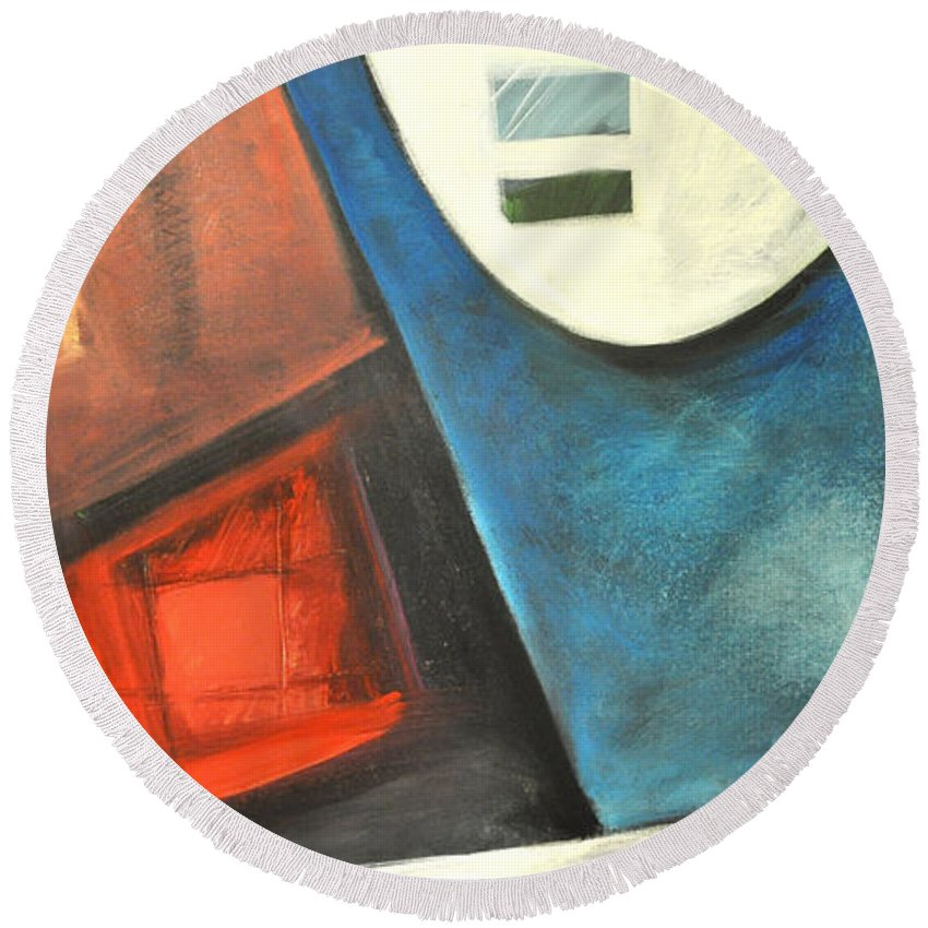 Abstract Round Beach Towel featuring the painting Gumshoe by Tim Nyberg