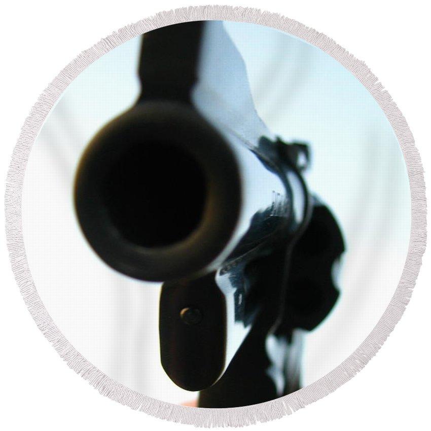Guns Round Beach Towel featuring the photograph Gun by Amanda Barcon