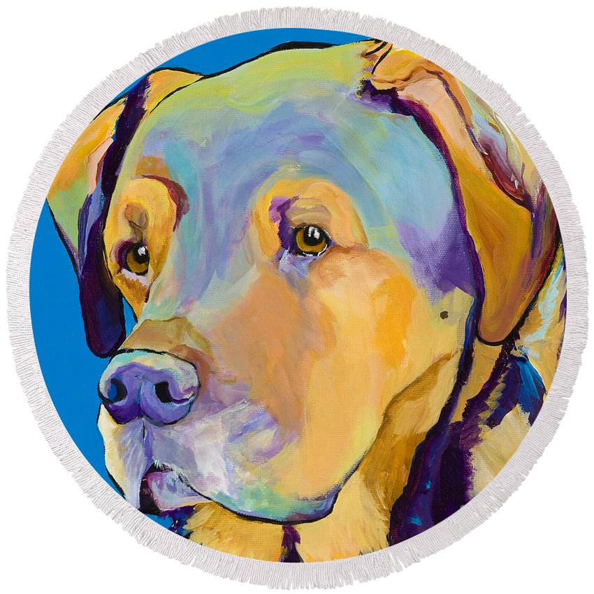 Dog Portrait Round Beach Towel featuring the painting Gunner by Pat Saunders-White