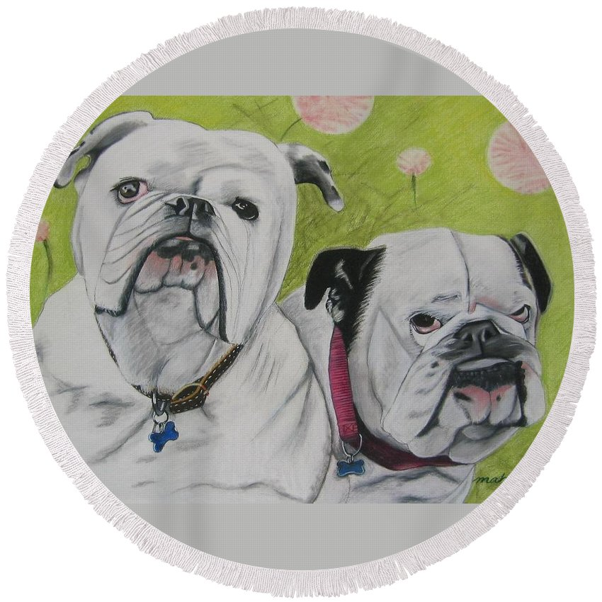 Dog Painting Round Beach Towel featuring the pastel Gus And Olive by Michelle Hayden-Marsan