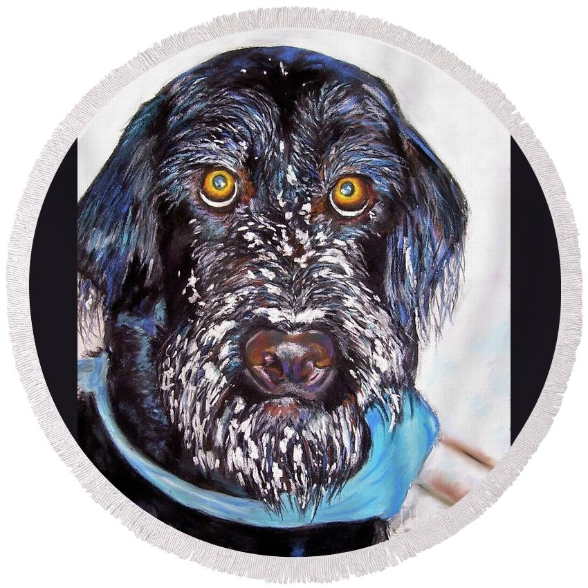 Dog Round Beach Towel featuring the painting Gus by Frances Marino