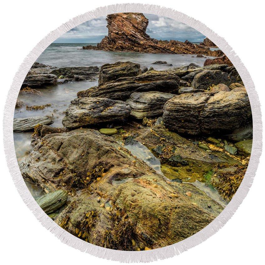 Sea Round Beach Towel featuring the photograph Gwenfaens Pillar by Adrian Evans