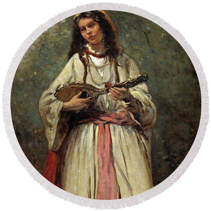 Gypsy Girl With Mandolin Round Beach Towel