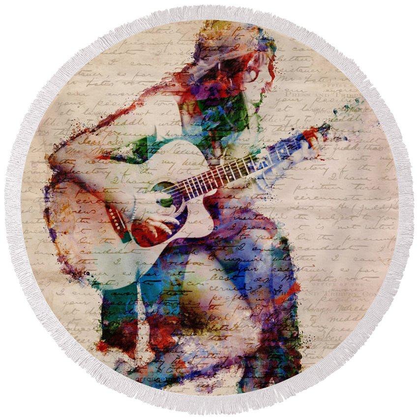Gypsy Round Beach Towel featuring the digital art Gypsy Serenade by Nikki Smith