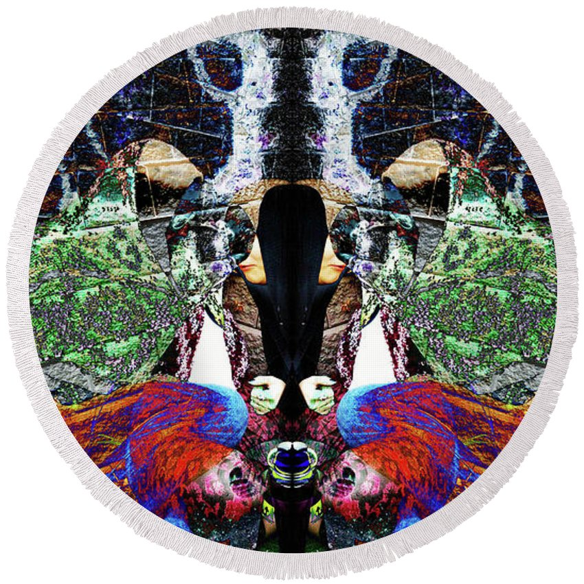 Symmetry Round Beach Towel featuring the digital art Gypsy Stalker by Revantide Afterburner