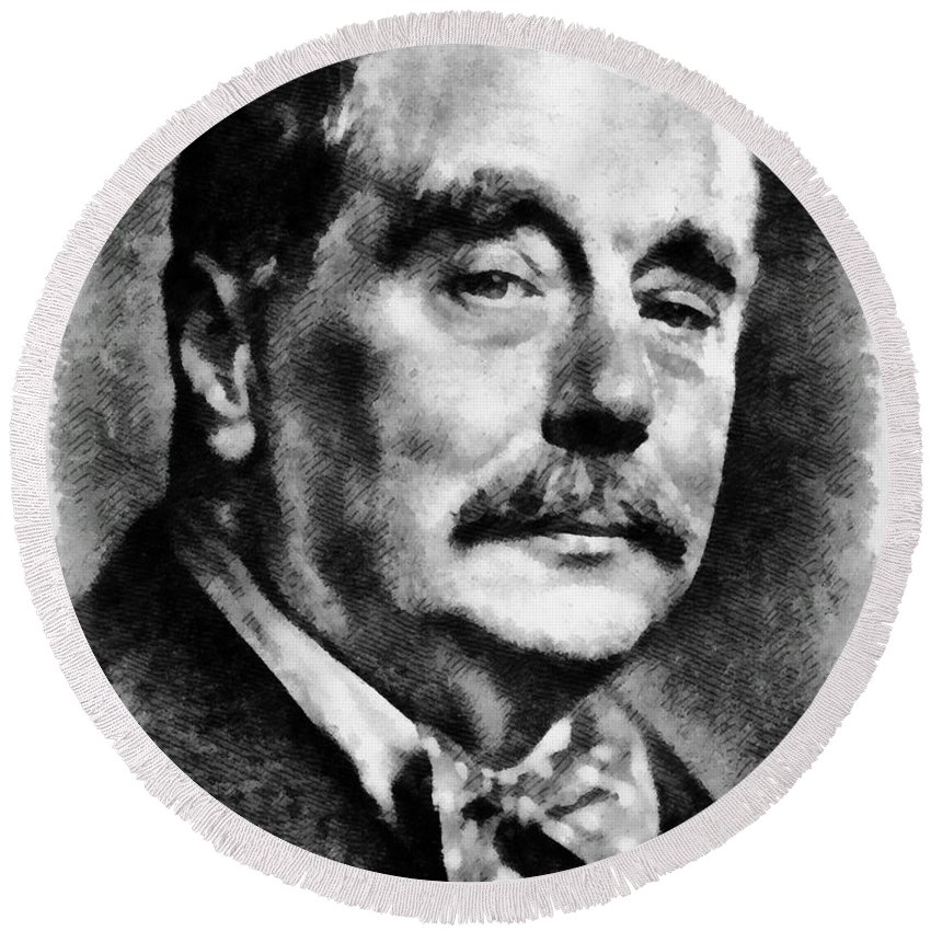 H.g. Wells Round Beach Towel featuring the painting H. G. Wells Author by Mary Bassett