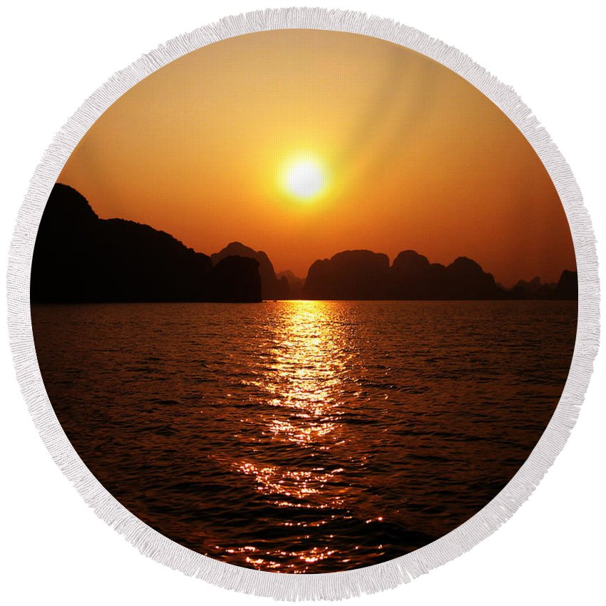 Orange Round Beach Towel featuring the photograph Ha Long Bay Sunset by Oliver Johnston