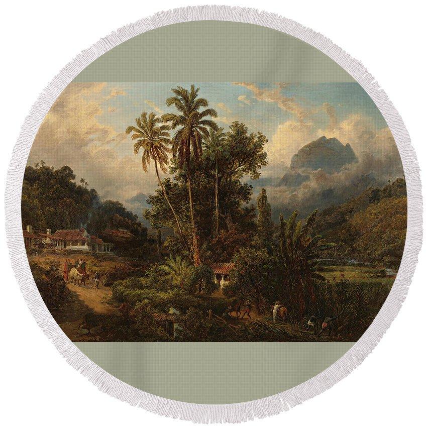19th Century Art Round Beach Towel featuring the painting Hacienda De San Esteban De Puerto Cabello, Venezuela by Ferdinand Bellermann