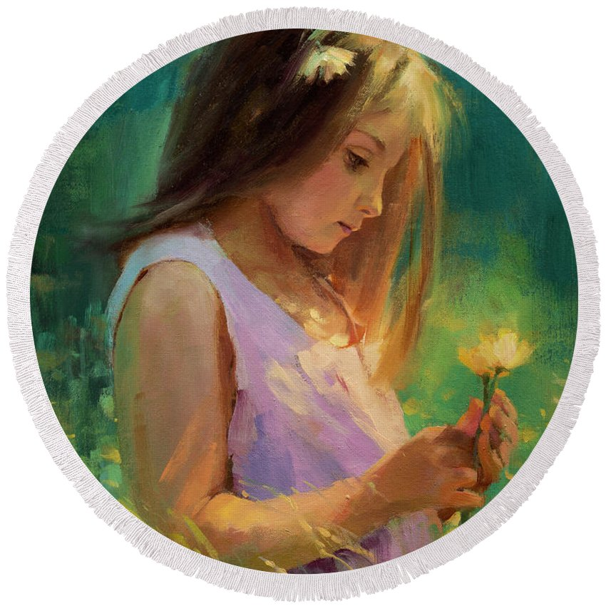 Girl Round Beach Towel featuring the painting Hailey by Steve Henderson