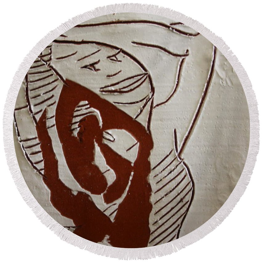 Jesus Round Beach Towel featuring the ceramic art Hair Day - Tile by Gloria Ssali