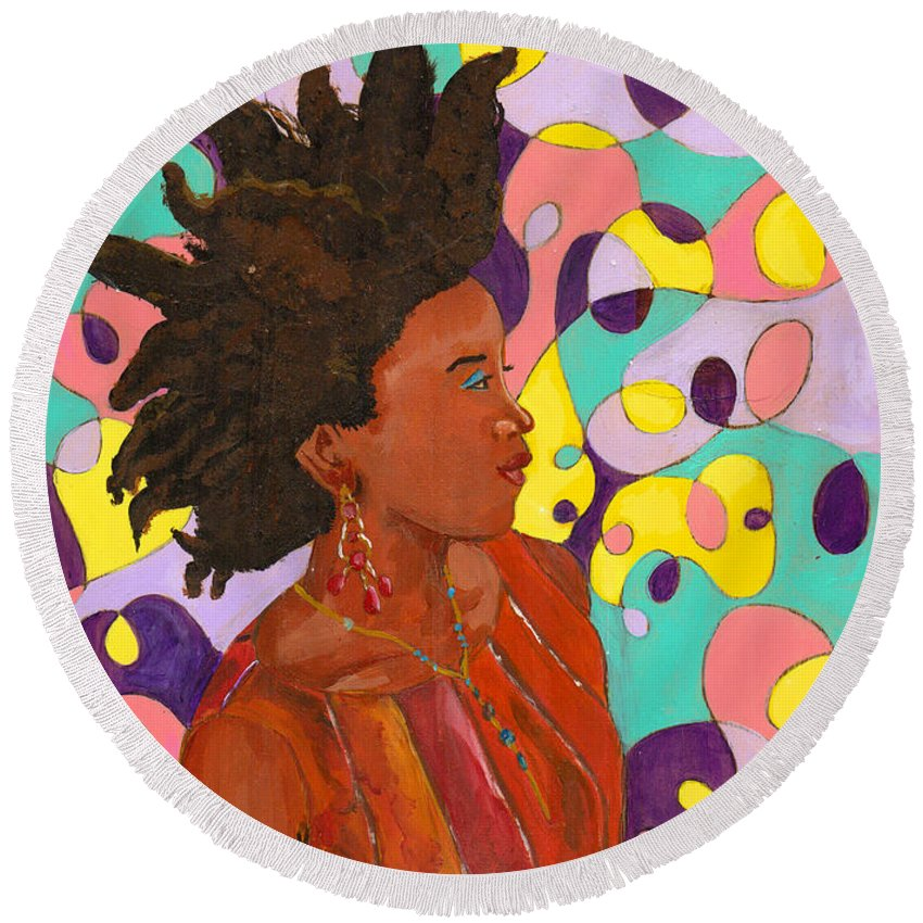Natural Hair Round Beach Towel featuring the painting Hair Naturally 3 by Unicia Buster