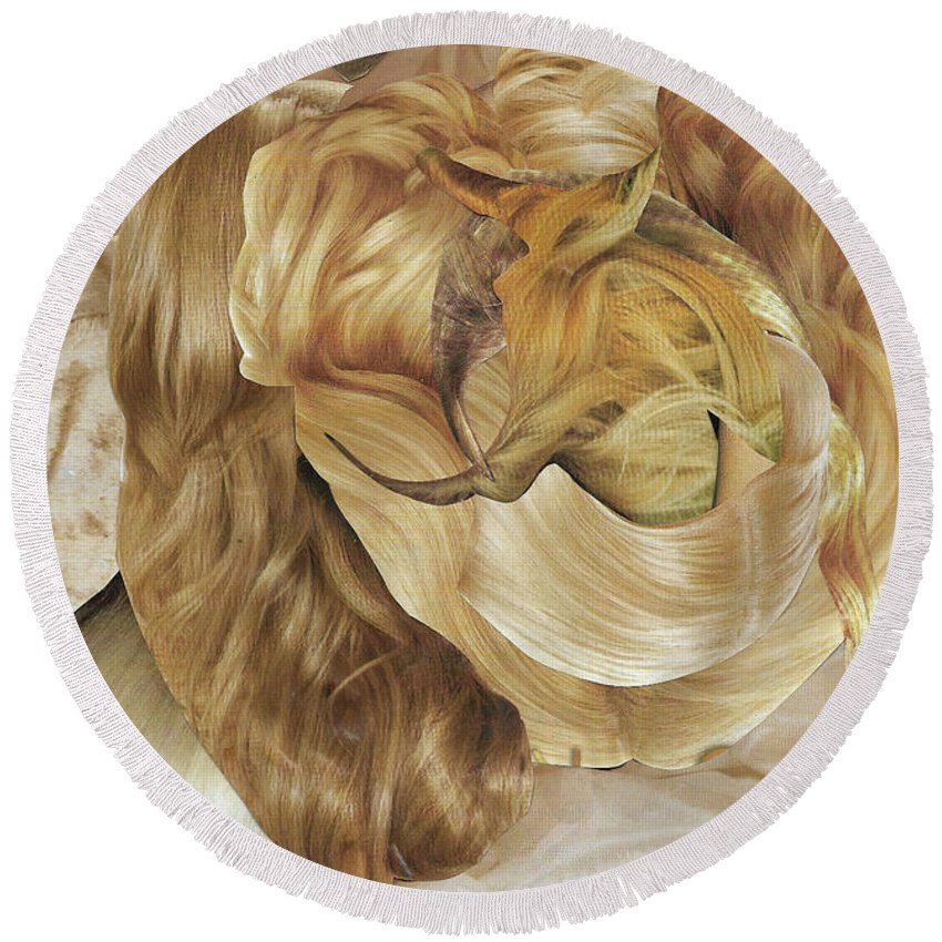 Collage Round Beach Towel featuring the mixed media Hairx by Shelby Wilson