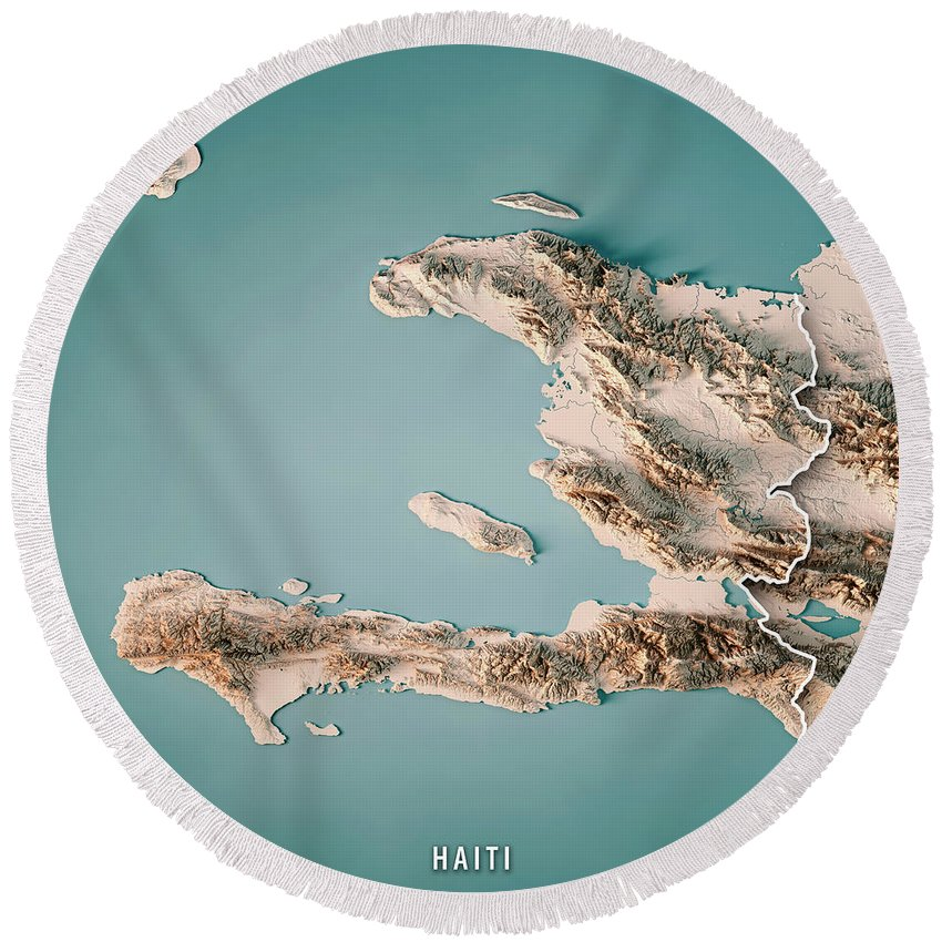 Topographic Map Of Haiti.Haiti 3d Render Topographic Map Neutral Border Round Beach Towel For