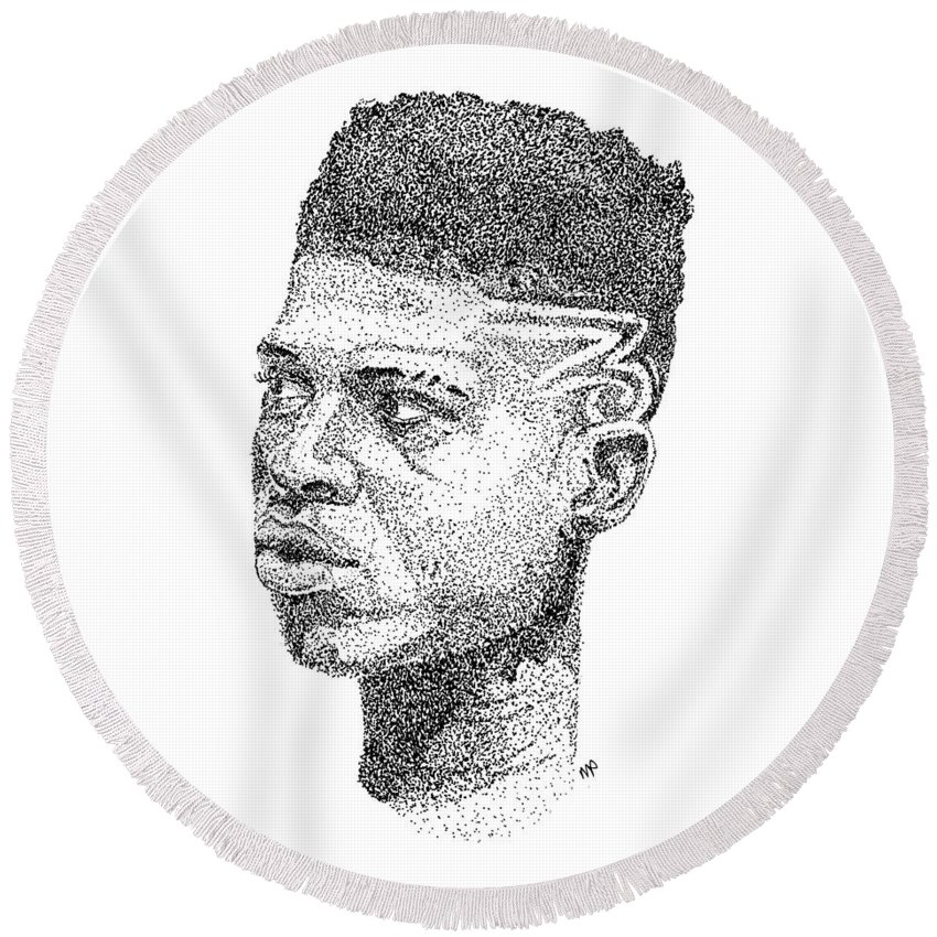 Black Art Round Beach Towel featuring the drawing Hakeem Lyon by Marcus Price