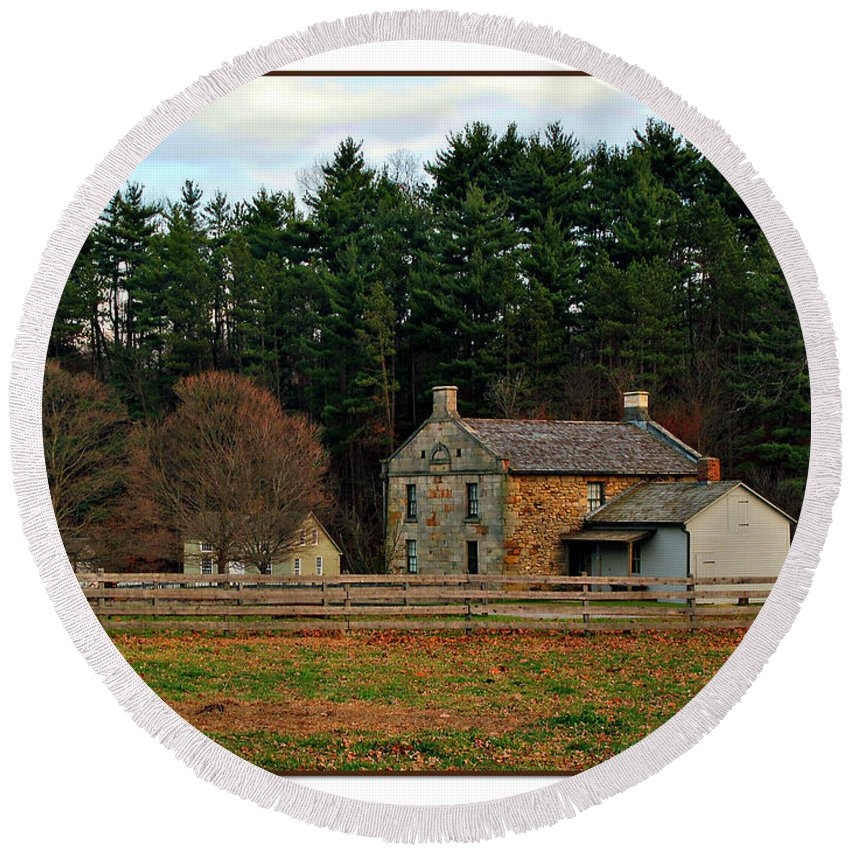 Hale Round Beach Towel featuring the photograph Hale Farm And Village by Joan Minchak