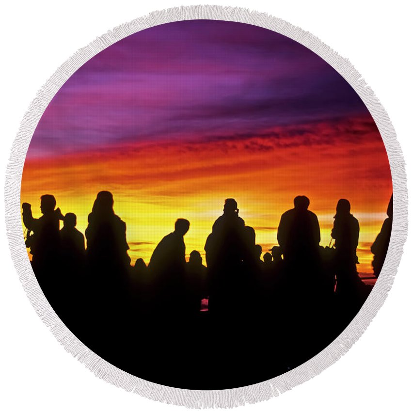 Haleakala Sunrise Round Beach Towel featuring the photograph Haleakala Color Show by Jim Cazel