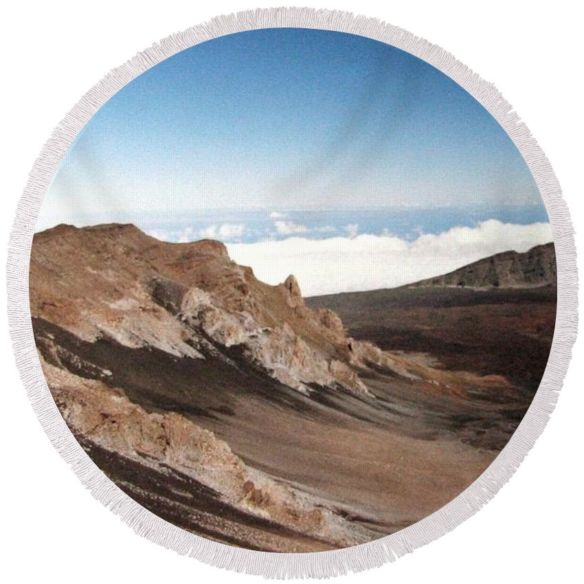 1986 Round Beach Towel featuring the photograph Haleakala Crater by Will Borden