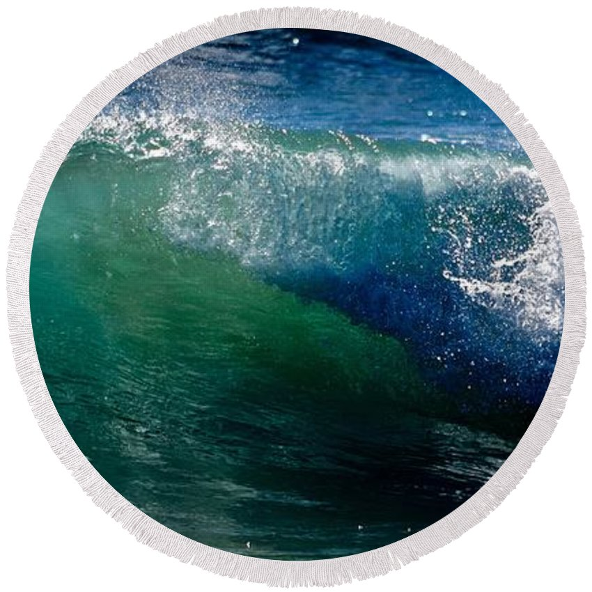 Ocean Round Beach Towel featuring the photograph Half Cresting Wave by Debra Banks
