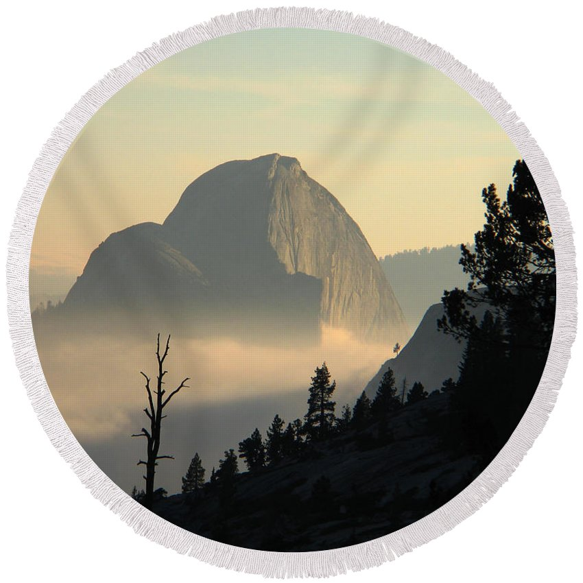 Half Dome Round Beach Towel featuring the photograph Half Dome And Fog At Olmsted Point In Yosemite by Greg Matchick