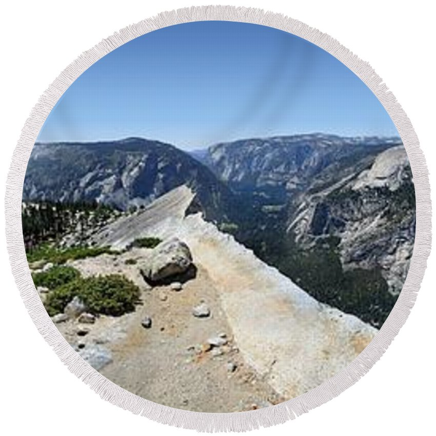 Sierra Round Beach Towel featuring the photograph Half Dome And Yosemite Valley From The Diving Board - Yosemite Valley by Bruce Lemons