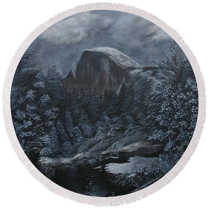Yosemite Round Beach Towel featuring the painting Half Dome Black And White by Travis Day