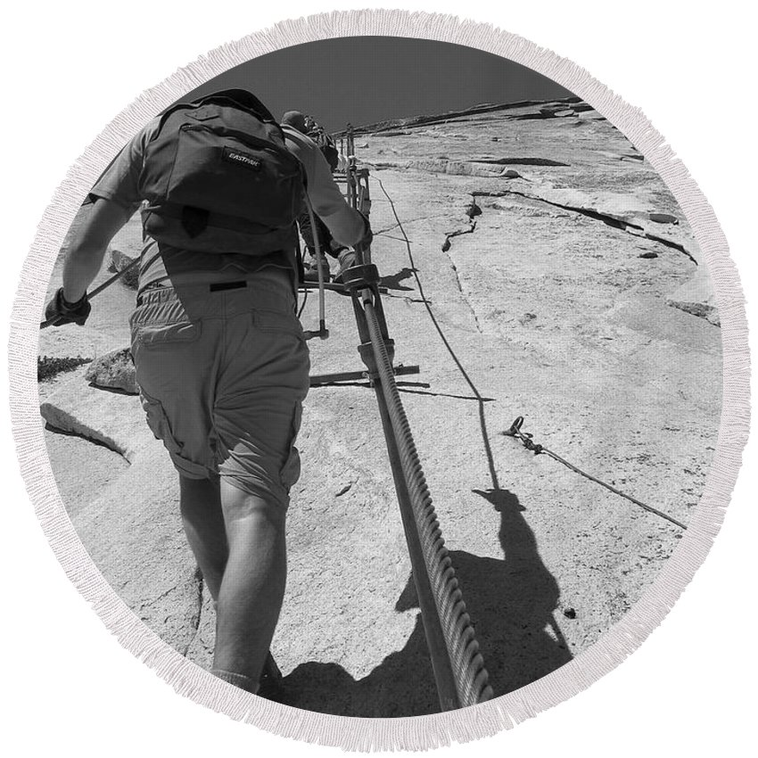 Half Dome Round Beach Towel featuring the photograph Half Dome Cables by Travis Day