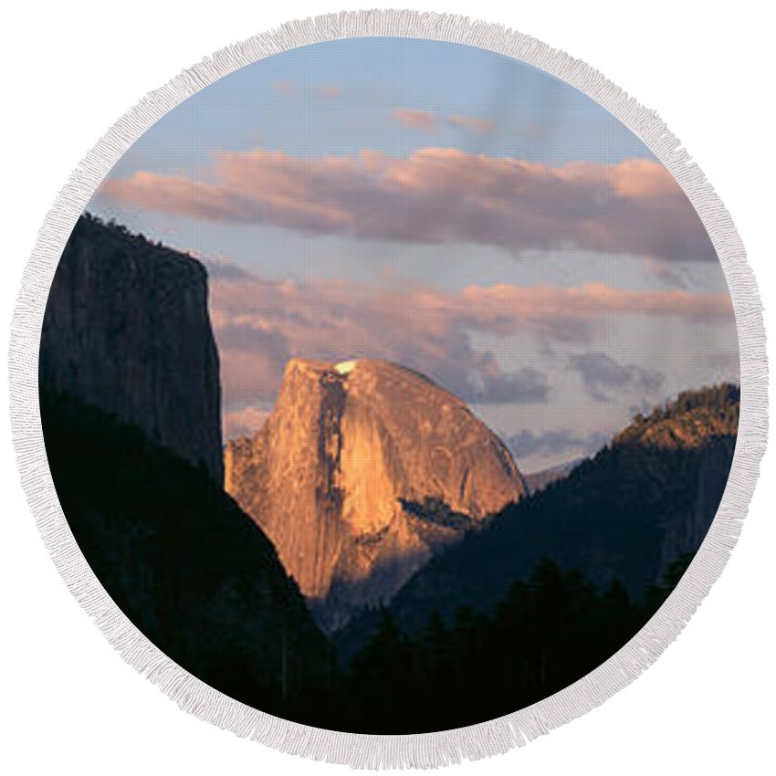 Photography Round Beach Towel featuring the photograph Half Dome Mountain At Sunset, Yosemite by Panoramic Images