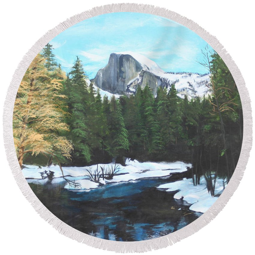 Lkandscape Round Beach Towel featuring the painting Half Dome Snow by Travis Day