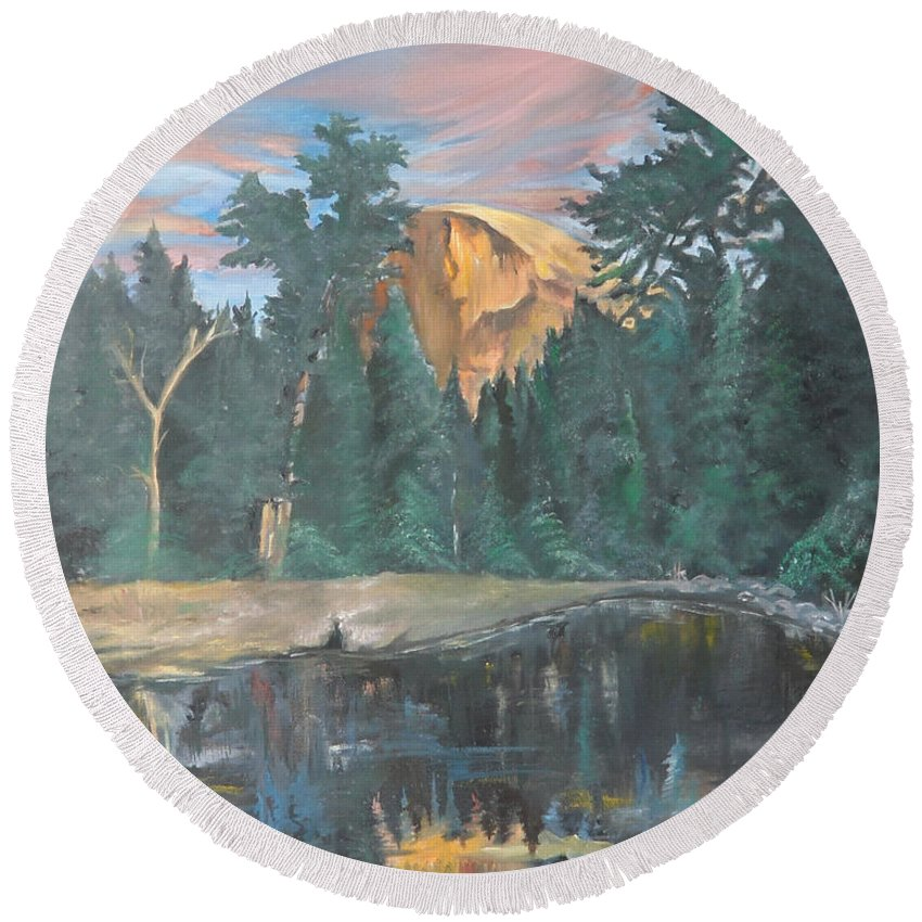Sunset Round Beach Towel featuring the painting Half Dome Sunset by Travis Day