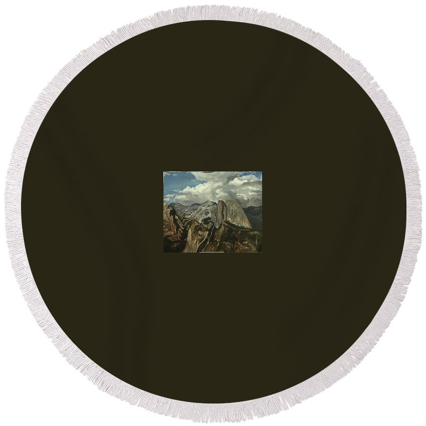 Round Beach Towel featuring the painting Half Dome by Travis Day