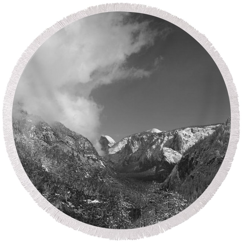 Half Dome Round Beach Towel featuring the photograph Half Dome Winter by Travis Day
