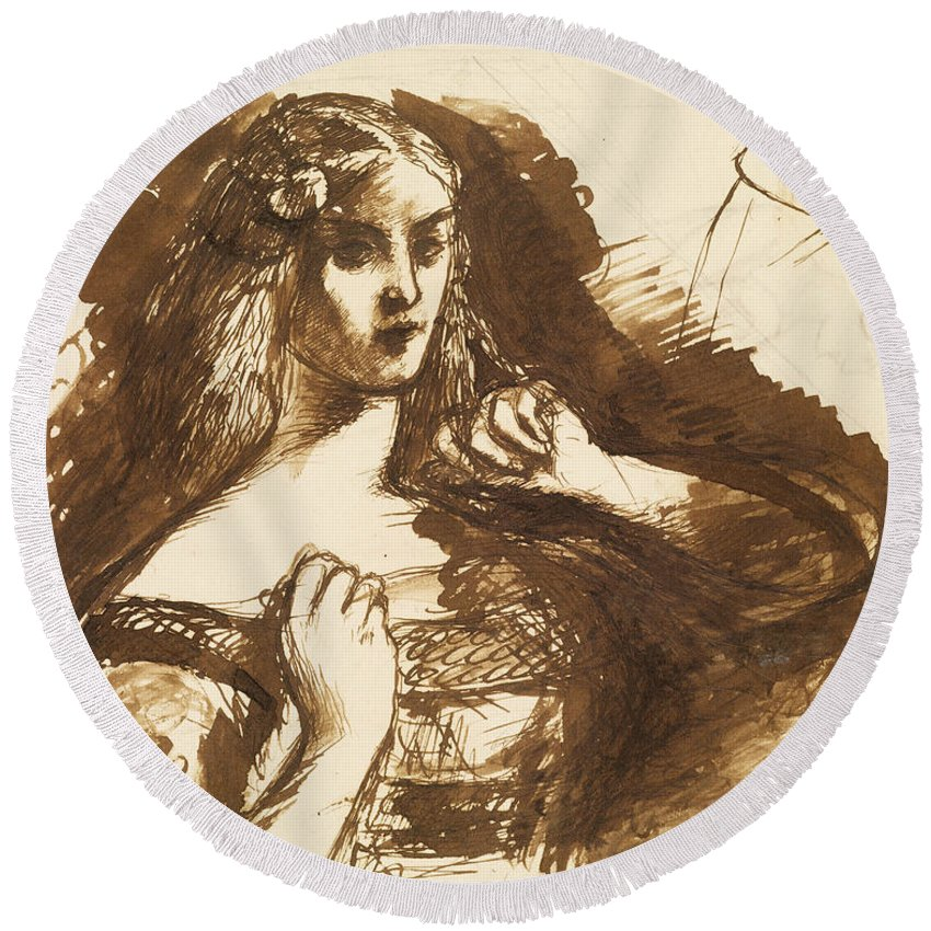 Dante Gabriel Rossetti Round Beach Towel featuring the drawing Half-length Sketch Of A Young Woman by Dante Gabriel Rossetti