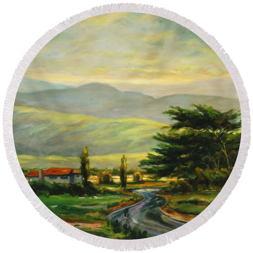 Trees Round Beach Towel featuring the painting Half Moon Bay by Rick Nederlof