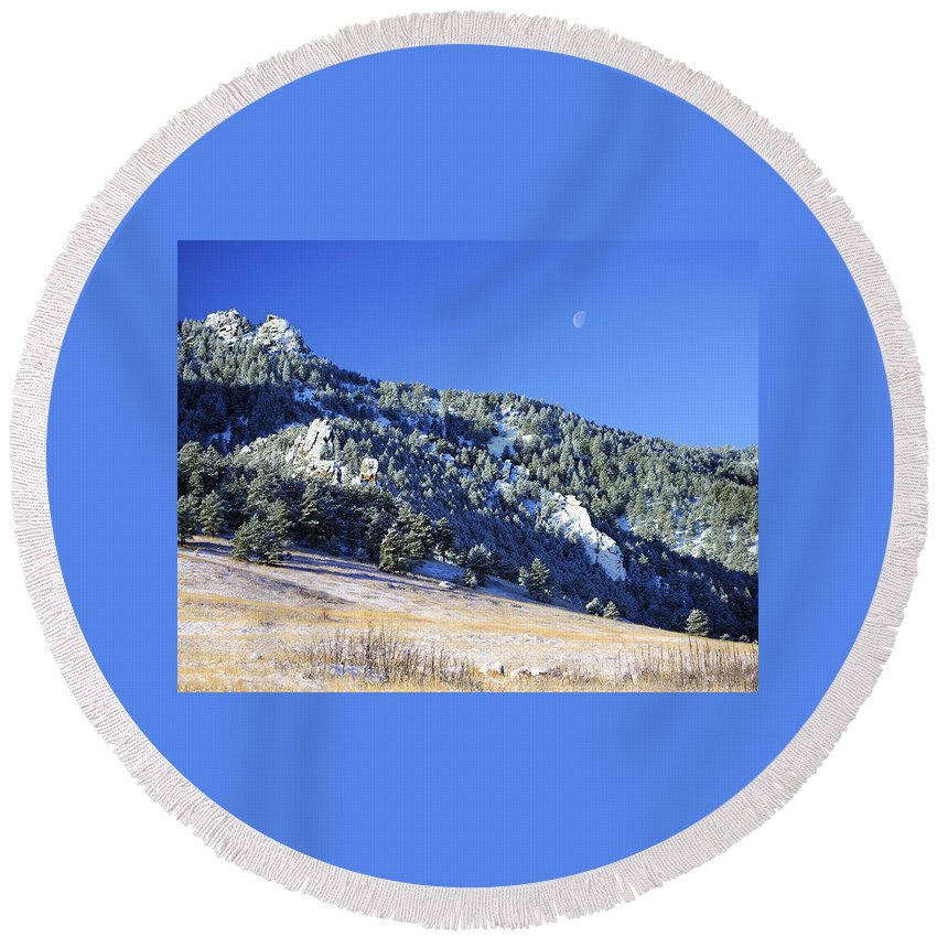 Nature Round Beach Towel featuring the photograph Half Moon Over The Flatirons by Marilyn Hunt