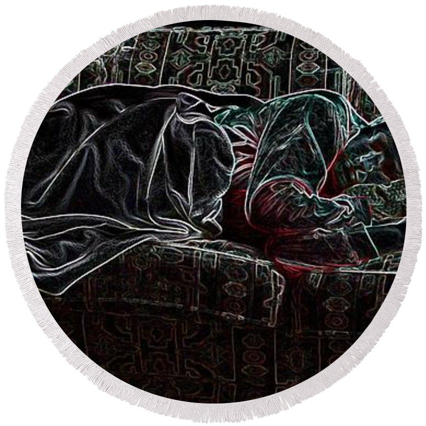 Sleeping Woman Round Beach Towel featuring the photograph Halfabaskan Sleeping by Ron Bissett
