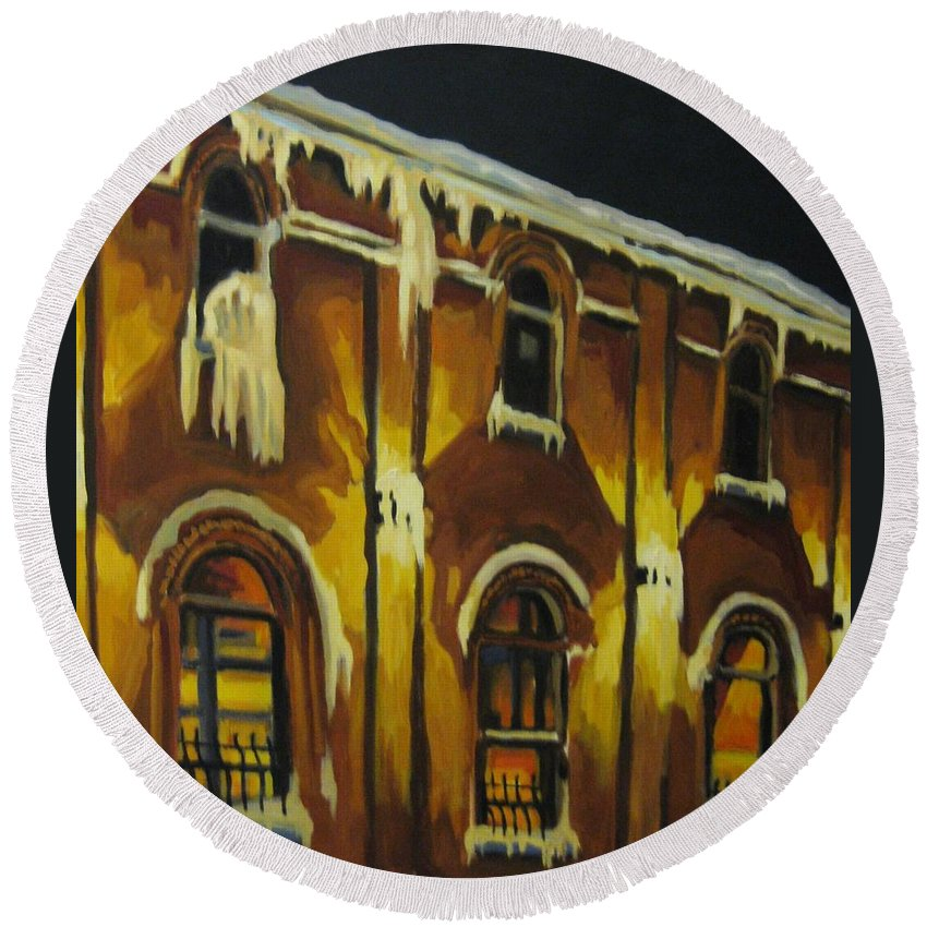 Urban Landscapes Round Beach Towel featuring the painting Halifax Ale House In Ice by John Malone