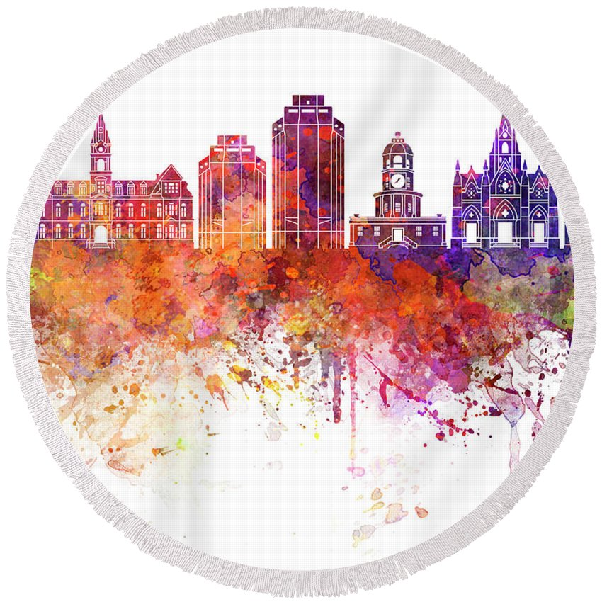 Halifax V2 Skyline Round Beach Towel featuring the painting Halifax V2 Skyline In Watercolor Background by Pablo Romero