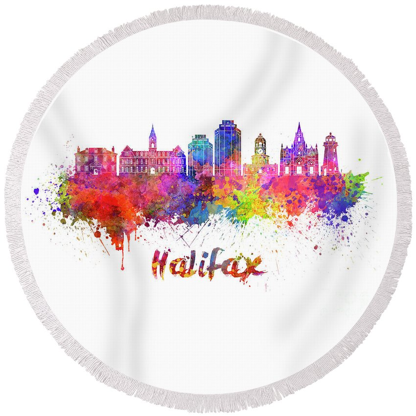 Halifax V2 Skyline In Watercolor Splatters With Clipping Path Round Beach Towel featuring the painting Halifax V2 Skyline In Watercolor Splatters With Clipping Path by Pablo Romero