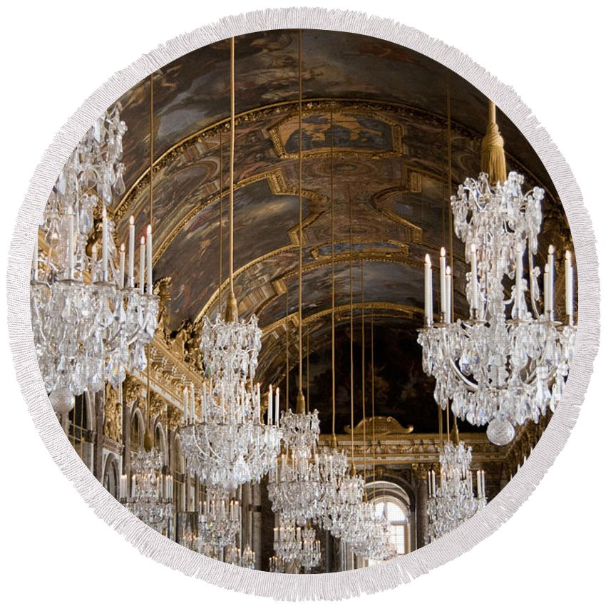 Versailles Round Beach Towel featuring the photograph Hall Of Mirrors Palace Of Versailles France by Jon Berghoff