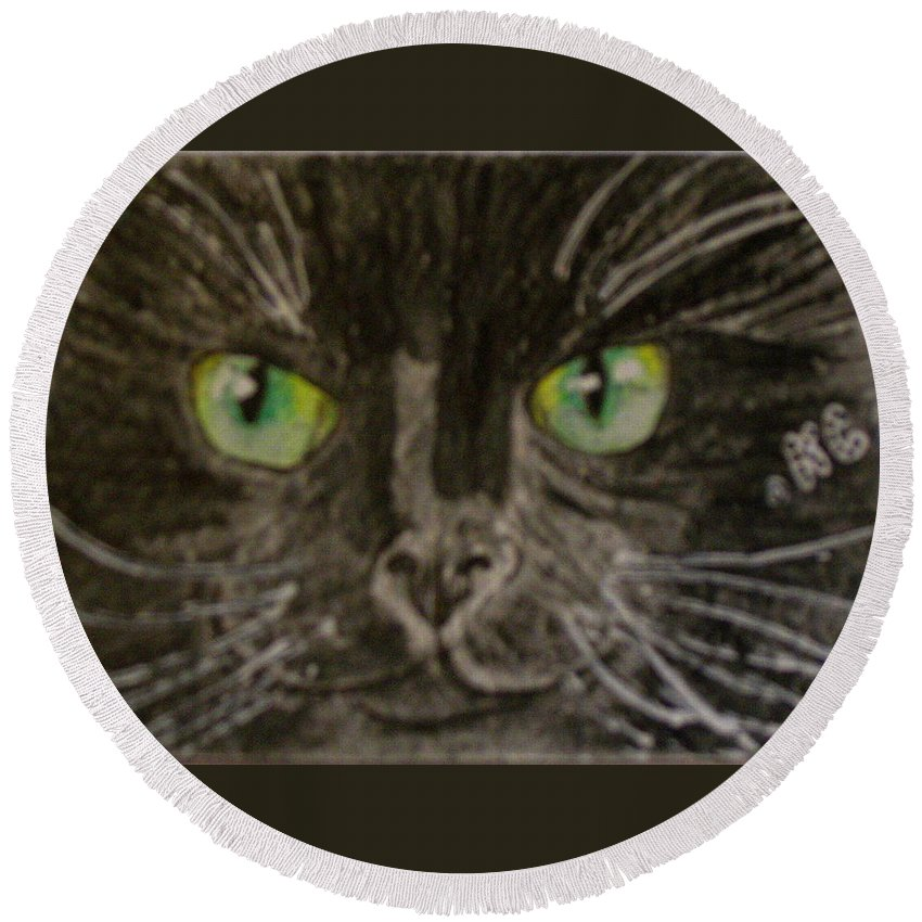 Halloween Round Beach Towel featuring the painting Halloween Black Cat I by Kathy Marrs Chandler