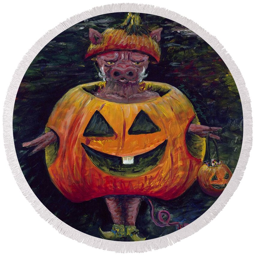 Halloween Round Beach Towel featuring the painting Halloween Hog by Nadine Rippelmeyer