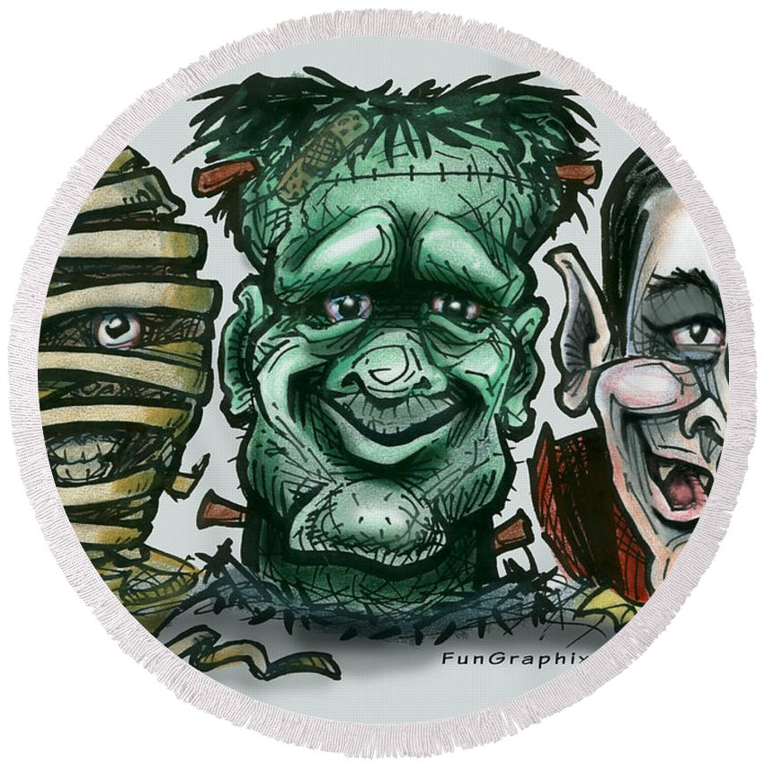 Halloween Round Beach Towel featuring the greeting card Halloween Monsters by Kevin Middleton