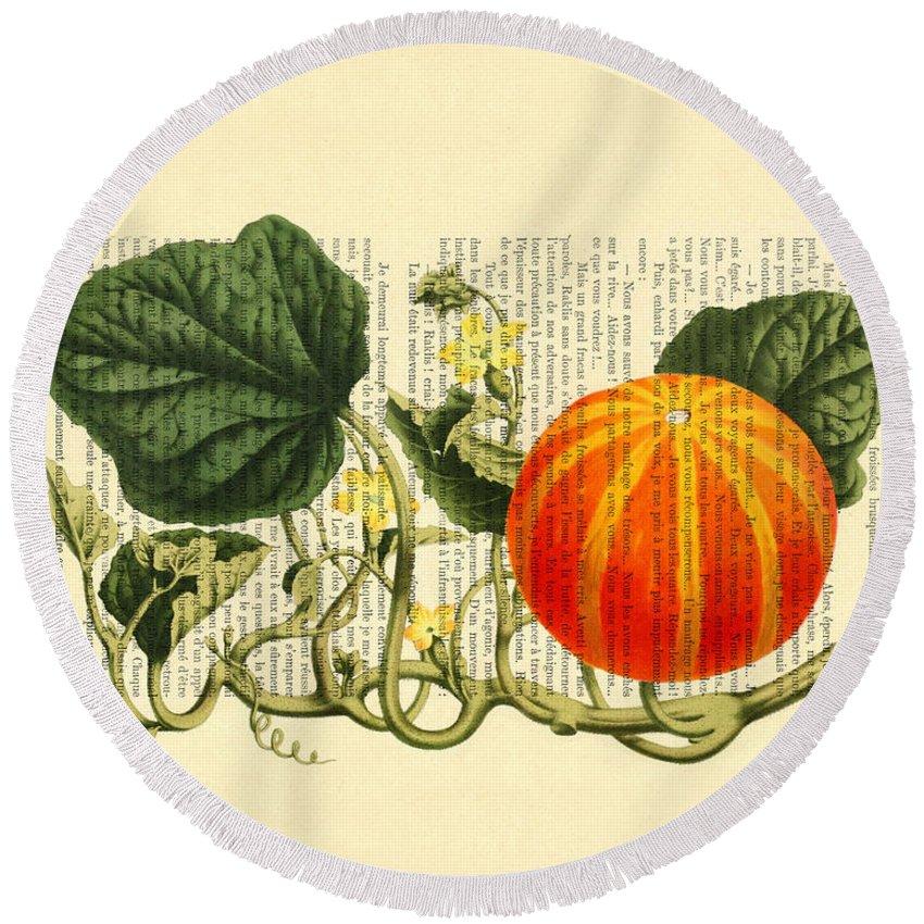 Fall Pumpkin Round Beach Towel featuring the digital art Halloween Pumpkin Antique Illustration by Madame Memento