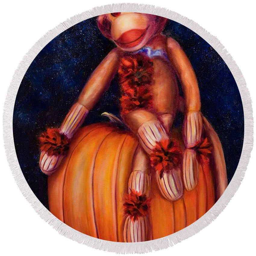 Pumpkin Round Beach Towel featuring the painting Halloween by Shannon Grissom