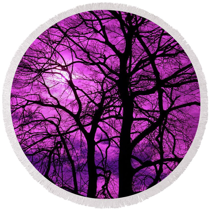 Halloween Round Beach Towel featuring the photograph Halloween Trees No 3 By Dm Carpenter by DM Carpenter